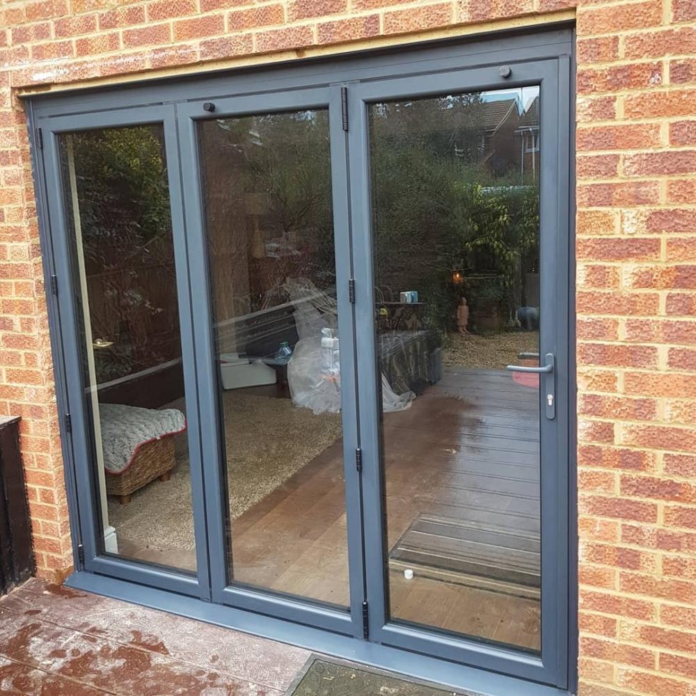 grey bi fold doors